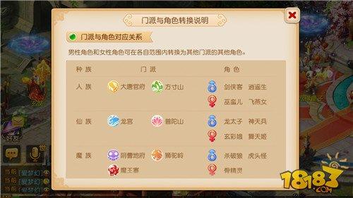 梦幻西游手游跨种族转门派与角色功能